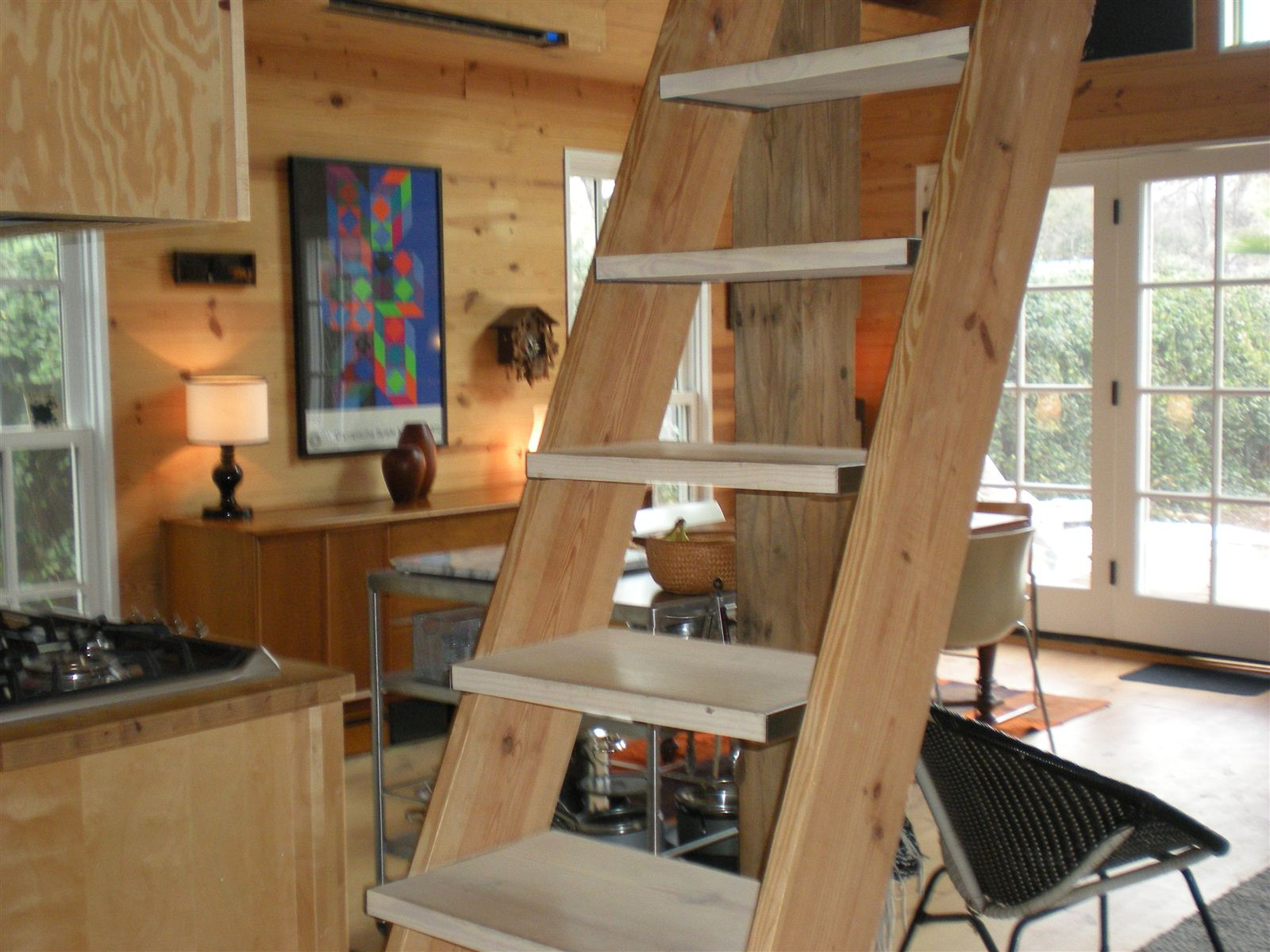 ... Modern Rustic Cabin Central East Austin   Interior With Stair/ladder To  Sleeping Loft Or ...